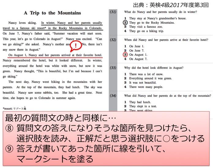 英検4級 四級 リーディング 長文 対策 コツ