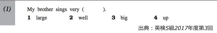 英検5級リーディング対策 大問1 問題例