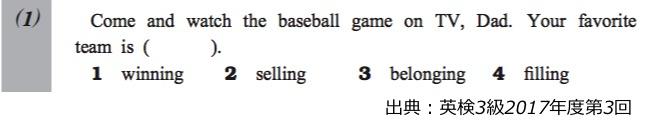 英検3級リーディング・長文対策 大問1 問題例